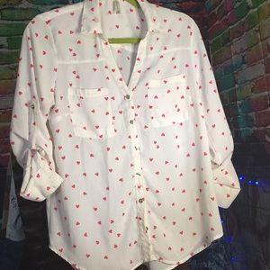 I ❤️ U .... V neck button down blouse